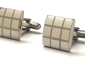 Silver Grid Cufflinks Silver Tic Tac Toe Cufflinks Fun Party Cool Classy Cuff Links Comes Gift Box Gifts for Dad Husband Gifts for Him