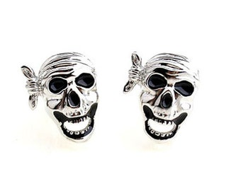 Pirate Cufflinks Silver Skull Pirates in the Caribbean Jolly Rodger Cufflink Halloween Skull Nightmares Silver Toned Cuff Links