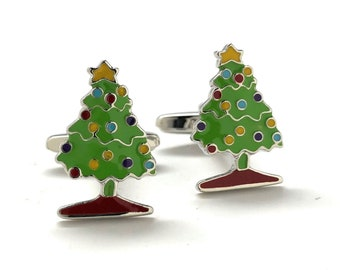 Mens Cufflinks Christmas Tree Green and Colors Enamel Cartoon Christmas Holiday Fun Cuff Links Comes with Gift Box