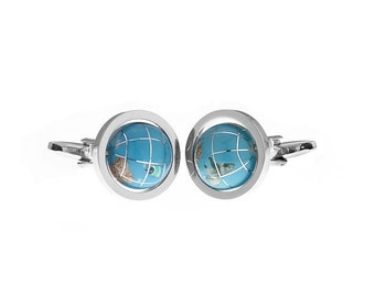 Men's Executive Travel the Blue Planet Earth Rotating World Globe Cufflinks Cuff Links
