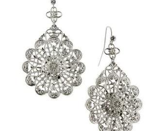 Estate Zarina Silver Tone Petals Drop Earrings Downton Abbey Jewelry