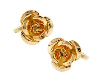 Gold Rose Cufflinks Gold 3-D Rose Cufflinks Gold Tone Bullet Back Detailed Design Cuff Links Wedding Cufflinks cool guy gifts flowers