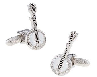 Banjo Cufflinks, Silver White Enamel Deluxe Edition