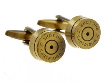 Brass Shell Shotgun Cufflinks 3D Detailed Gold Cartridges Hunter Cool Fun Unique Bird Cuff Links Shot Gun Bullet Sportsman Gift Box