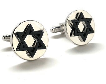 Star of David Cufflinks Black Enamel Jewish Religious Symbols Hanukkah Faith Bar Mitzvah Shield of David Magen David Silver Tone Cuff Links