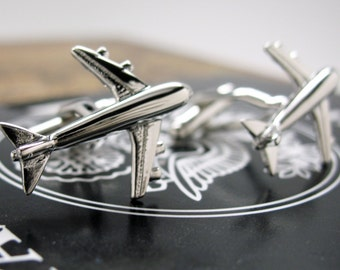 Jumbo Jet Cufflinks Airliner Flight Pilot Aviator Silver Tone Airplane Cuff Links Gifts for Him Captain Comes with Gift Box