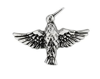 Enamel Pin Free as a Bird Lapel Pin Silver Tone Black Enamel Hummingbird Tie Tack
