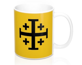 Jerusalem Cross Coffee Mug 11oz Christian Faith Crusader Cross Religious Ceramic Cup Gospel Greek Crosses Yellow Catholic Cross Holy Father