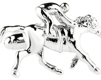 Jockey Cufflinks Silver Run for the Roses Horse Race Cuff Links Animal Custom Cufflinks
