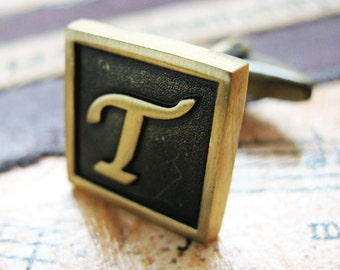 T Initial Cufflinks Antique Brass Square 3-D Letter Vintage English Lettering Cuff Links Groom Father Bride Wedding Anniversary Gift Box
