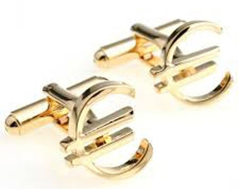 Euro Symbol Cufflinks Banker Financial Gold Cuff links
