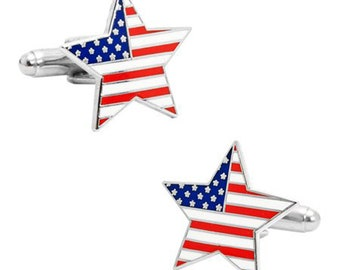 American Flag Star Cufflinks Proud to be an American US Flag Cuff Links Pride 4th of July Independence