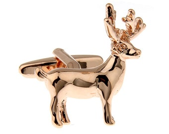 Rose Gold Reindeer Deer Cuff Links Majestic Deer Buck Cufflinks