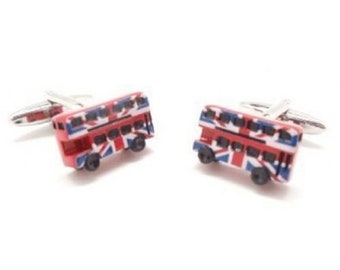 London Bus Cufflinks British Flag Union Jack Double Decker Bus England London Cuff Links Comes with Gift Box