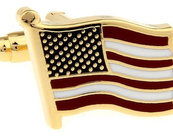 American Flag Cufflinks Waving Gold Tone Home Of the Brave American Flag Cuff Links Freedom America Comes with Box