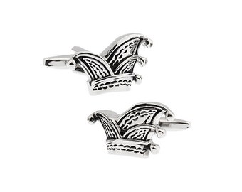 Royal Court Jester Black and Silver Hat Crown Joker Cufflinks Cuff Links