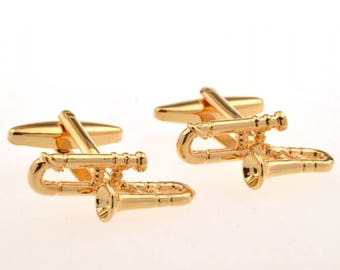 Gold Trombone Cufflinks Band Fans Jazz Band Music Players Conductors Cool Cuff Links Comes with Box