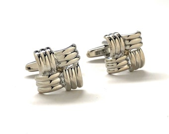 Silver Bands Weave Cufflinks Shiny Silver Tone Raised Detail Cuff Links Comes with Gift Box