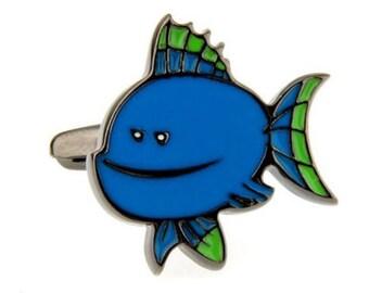 Novelty Tropical Fish Cufflinks Blue Fun Cartoon Fish Ocean Sea Cuff Links