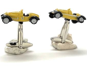 Yellow Pine Wood Durby Cufflinks Pinewood Racing Car Old School Black Enamel Tires Fun Cool Popular Auto Vintage Race Gift Box