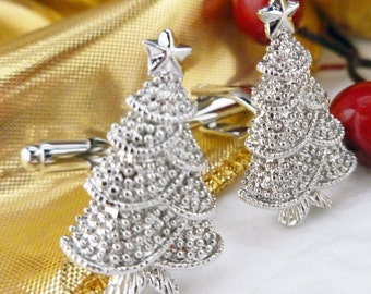 Christmas Tree Cufflinks Glistening Star Shiny Silver Tone Holiday Winter Wonderland Christmas Family Parties Work Party Cuff Links