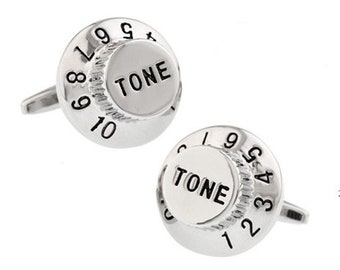 Tone Dial Cufflinks Unique Silver Volume Knob Crank it Up Tone Dial Cufflinks Amplifier