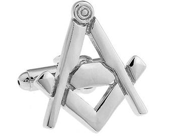 Mens Executive Cufflinks Silver Cut Out Square and Compass Freemason Mason Masonry Symbol Cuff Links