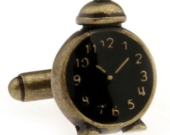 Alarm Clock Cufflinks Unique Rustic Antique Looking Comes with Gift Box Cool Fun Unique Cuff Links Non Working Movements