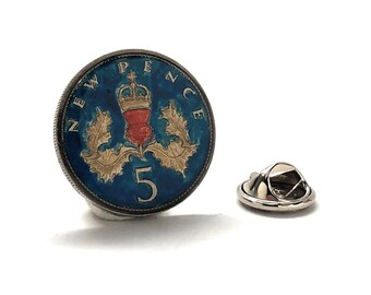 Enamel Pin Seconds, 5 Pence Coin