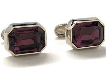 Beautiful Crystal Cut Cufflinks Maroon Color Purple Gem with Silver Accents Cuff Links Comes with Gift Box