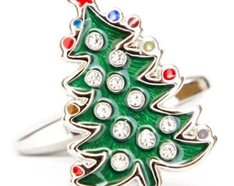 Christmas Tree Cufflinks Winter Holiday Tree Ornaments with Crystals Green Hard Enamel Finish Christmas Family Parties Work Party Cuff Links