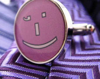 Emoji Cufflinks Winky Face Emoji Texts Purple Message Smiley Face Cuff Links