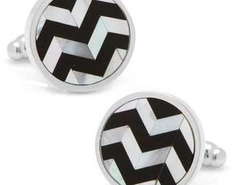 Mother of Pearl and Onyx Cufflinks Chevron Stripe MOP and Black Onyx Formal One of  Kind Cuff Links