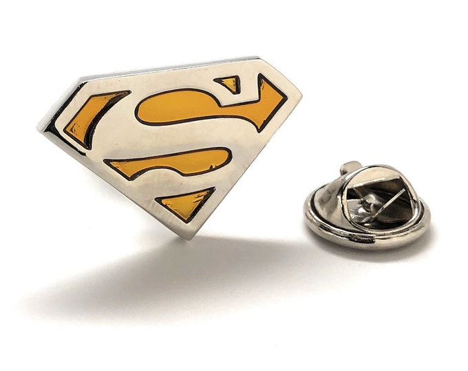 Featured listing image: Enamel Pin Superman Lapel Pin Super Hero Man Rhinestone Tie Tack Superhero Show Off Your Superman Keepsakes Cool Fun Enamel Pins Lapel Pins