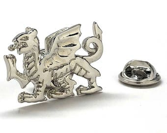 Welsh Dragon Enamel Pin Dragon Jewelry Lapel Pin Silver Tone Cut Out Tie Tack Collector Pin Comes with Gift Box