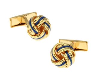 Gold Tone Blue Strip Classic Knots Cufflinks Whale Tail Backing Cuff Links Comes with Cufflinks Box