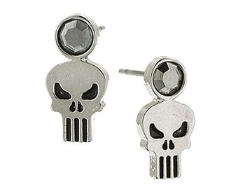 Earrings Punisher Skull with Black Crystal Stud Post Earrings superhero Collection Jewelry