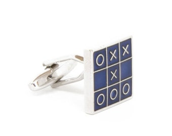 Board Game Cufflinks Game Tic-Tac-Toe Square Blue Enamel Silver Tone X's and 0's Cuff Links Cool Cufflinks Unique Jewelry Mens Accessories