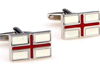 The Flag of England English Flag St. George's Flag Cufflinks National Pride Cool Classic Heritage Cuff Links Comes with Gift Box