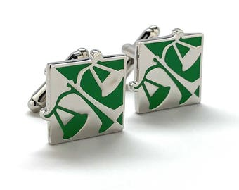 Scales of Justice Cufflinks Judge Law Lawyer Unique Silver Tone Green Enamel Cuff Links Comes with Gift Box