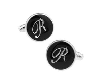 R Cufflinks Initial Silver Toned Round Black Enamel Vintage Script Letters Cuff Links Groom Father of the Bride Wedding Anniversary Gift Box