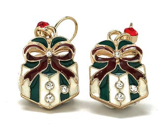 Women Earrings Christmas Present Earnings Sparkling Holiday Crystal Silver Toned Very Fun Cute Loop Christmas Gift Party Jewelry