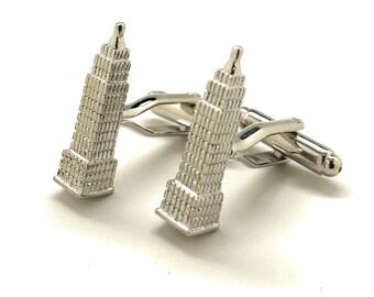 Empire State Building Cufflinks 3-D in New York City Silver Tone Cufflinks NYC Cuff Links Comes with Gift Box