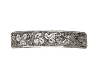 Silver Floral Leaf Rectangle Barrette, Hair Accessories