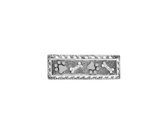 Shawl Pin, Pewter Paws and Bones Bar Pin