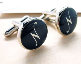 N Cufflinks Silver Round Black Enamel Script Letters Vintage Initials Cuff Links Groom Father Bride Wedding Anniversary Fathers Day Gift Box