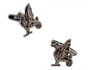 Griffin Cufflinks Gunmetal Finish Cut Out Cuff Links