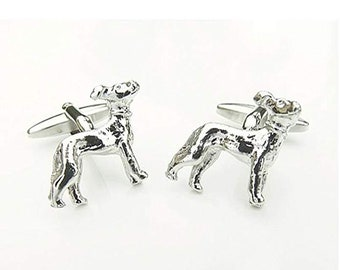 Silver Men's Cufflinks Standing Italian Greyhound Puppy Dog Pet Cuff Links Comes with Box Custom Cufflinks