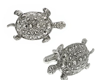 Lucky Turtle Cufflinks Persian Emperor Lucky Turtle Silver Tone Cuff Links