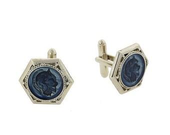 Silver Sapphire Blue Color Méthystos Ancient Greek Warrior Inlaid Enamel Cuff Links Cufflinks Very Cool Gift